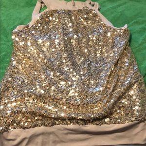 Gold sequin halter top 3X